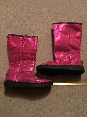 Skechers Hot Pink Girls Sequin Boots Faux Fur Lined UK Size 2 Hardly Worn VGC