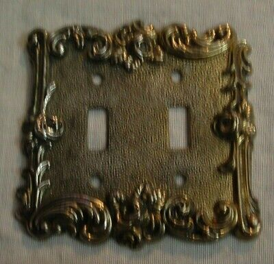 Vintage Ornate Floral Brass American Tack & Howe Co. Double Switch Plate Cover