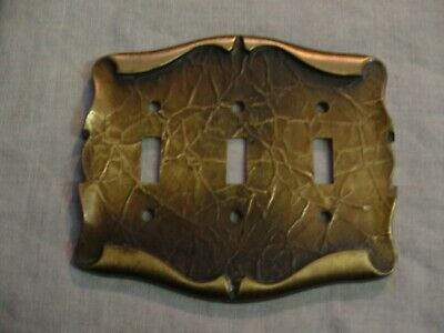 Vintage Ornate Scroll Brass American Tack & Howe Co. Triple Switch Plate Cover