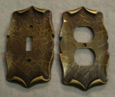 Vintage Ornate Scroll Brass American Tack & Howe Co. Switch Plate Cover & Outlet
