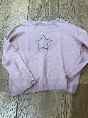 Girls Zara Jumper Sweater Top Pale Pink Star 6 Glitter Tk