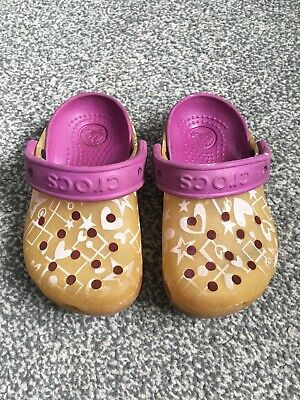 Genuine Girls Child's Kids CROCS Shoes Sandals Pink Yellow size UK 8-9 infant