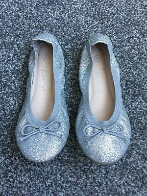 Girls Childs Ballet Flats Shoes Silver Size 9 Next New