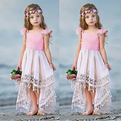 Baby Girls Kids Hollow Lace Dress Summer Party Princess Backless Dresses Gift