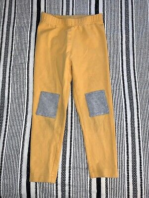 Girls 4t (100) HANNA ANDERSSON Yellow Gray Patch Knees LEGGINGS