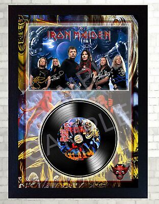 NEW! Iron Maiden The number of the Beast MUSIC SIGNED FRAMED PHOTO LP Vinyl