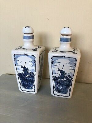 Delfts Blauw Windmill Bottles With Cork Stopper