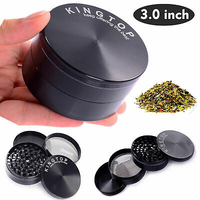 "4 Piece Tobacco Herb Spice Grinder Herbal Zinc Alloy Black Smoke Large 3"" Mill"