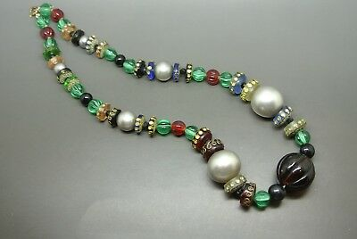 Vintage 50s french art deco melon shape green red glass beaded necklace