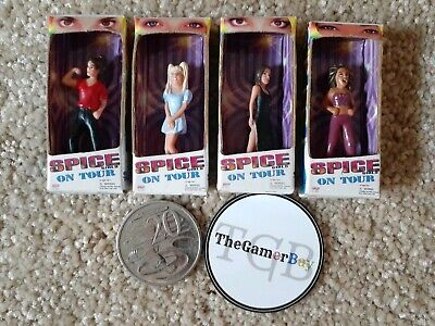 4 Vintage Miniature SPICE GIRLS ON TOUR 1998 mini figures with Original Boxes