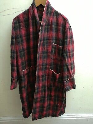 Vintage 1960s Mens Tartan Red Dressing Gown Robe smoking jacket wool? Mohair?