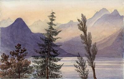 VIEW FROM ISOLA MADRE ITALY Small Antique Watercolour Painting 1872 19TH CENTURY