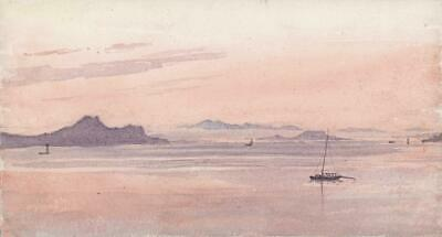 LAKE MAGGIORE ITALY Small Antique Watercolour Painting 1872 - 19TH CENTURY