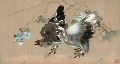 CHINESE Original Silk Painting TWO CHICKENS - SIGNED - 20TH CENTURY