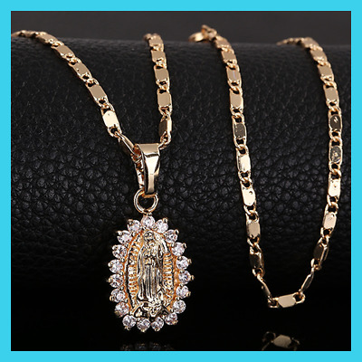 Women Virgin Mary Pendant Necklace [ Christian Catholic Religious Jewelry Gold ]