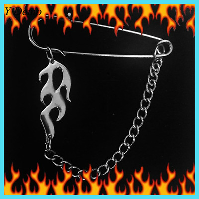 Punk New Flame Brooches Unisex Couple Rock Chain Accessory