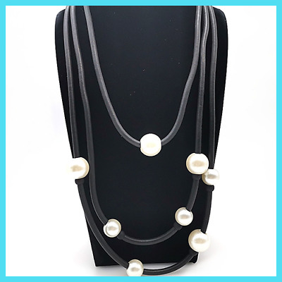 Pearl Necklaces Rubber Rope Chains For Women Fashion Jewelry Punk Style Office