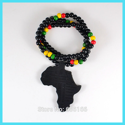 Infinite Black Africa Map Good Wood NYC X Chase Wooden Beads Necklace Hip Hop