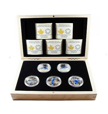 2014-2015 $20 .9999 Fine Silver Colourized $20 5-Coin Set - The Great Lakes RCM