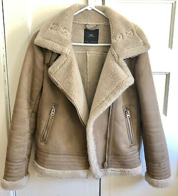ZARA Taupe Contrasting Faux Suede Coat Size M Like New Without Tags