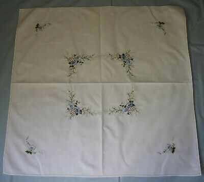 Small Vintage Embroidered Floral Table Cloth
