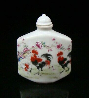 Collectible 100% Handmade Painting Porcelain Snuff Bottles Chicken 005