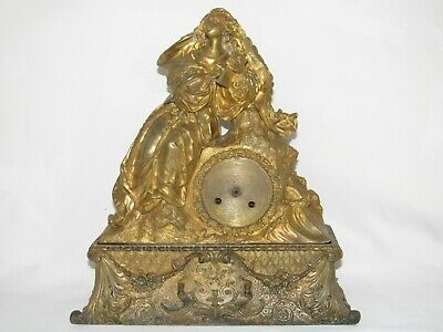 05D64 Antique Clock Pendulum Bronze Golden Statue Woman circa 1850 half Xixth