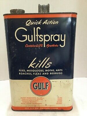 Vintage Gulf Oil Old Logo Quick Action Gulfspray (0.12%) 1 Gallon Metal Can