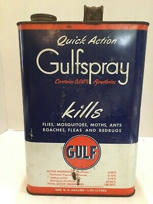 Vintage Gulf Oil Old Logo Quick Action Gulfspray (0.08%) 1 Gallon Metal Can