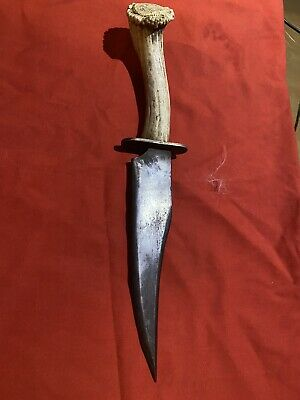 Custom Made Confederate Bowie Knife, Hand Forged, Stag Horn Handle