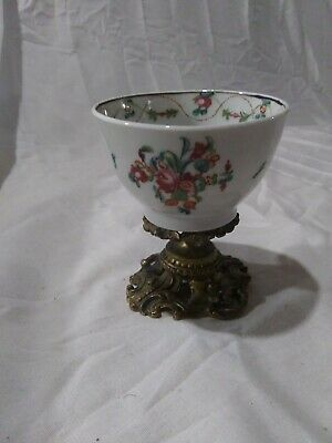 Rare 18th Century Chinese Export Cup On Gilt Mounted Stand Qinlong Qing