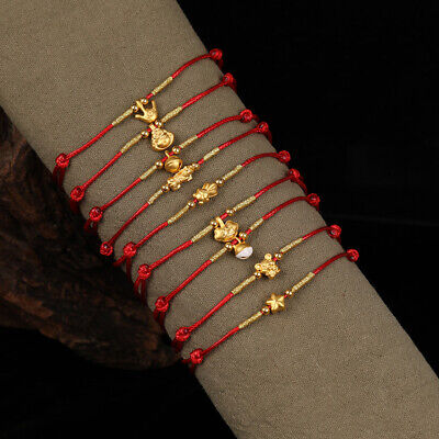 New Pure 999 24k Yellow Gold Small Charm with Red Rope Weave Bracelet Adjustable