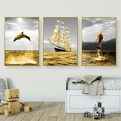 Golden Sea Whale Sailboat Canvas Wall Hangings Home Decor Nordic Poster Prints