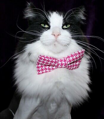 New Cat Pink White Houndstooth Cotton Bow Tie & Breakaway Faux Leather Collar