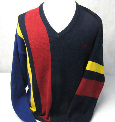 Izod Colorful Geometric Cotton Knit Long Sleeve Pullover V-Neck Sweater Mens L