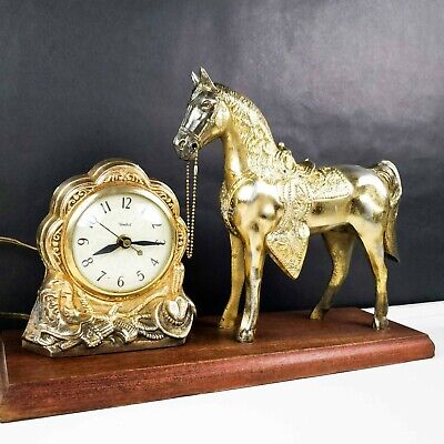 Vintage United Sessions 315 Electric MANTLE HORSE CLOCK Mid Century Western Art