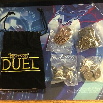 7 WONDERS DUEL Metal Coins Conflict Counter Cloth Bag Brand New FREE SHIPPING