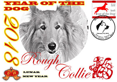 Rough Collie 2018 Year Of The Dog Stamp Souvenir Cover