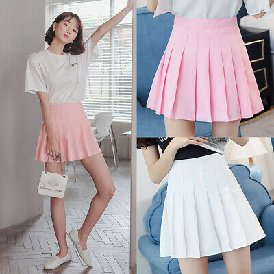 Fashion Women Girls Tennis High Waist Skater Pleated A-Line Skirt Short Dress