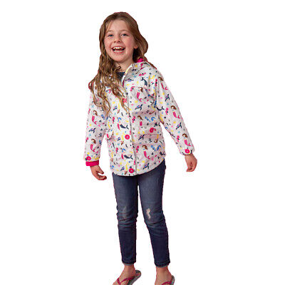 Lighthouse Girls Sophia Waterproof Jacket Coat, White Mermaid Print
