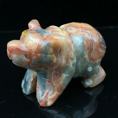 "1.5"" Natural Crazy agate Bear Quartz Crystal Carved Skull Healing Statue 1pc"