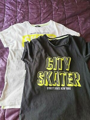 Pack of two children boys alternative skate t-shirts one white one black age 12-