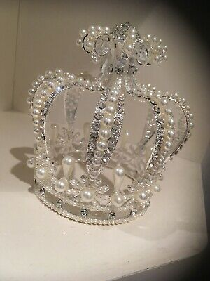 Smaller Silver / Rhinestone Crown . Small Pearl Crown . Childs / Baby Crown .