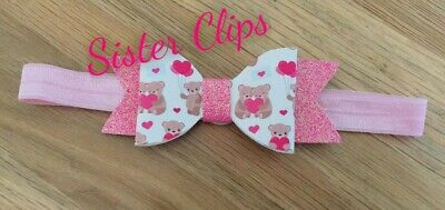 Baby Girls glitter cute pink bear valentine's day bow Soft Elastic headband