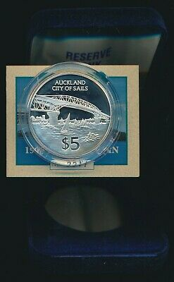 New Zealand 1996 $5 .925 Silver Auckland City Frosted Proof Cat $60 Ltd Edition
