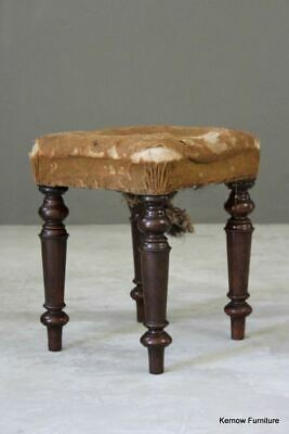 Antique Upholstered Victorian Mahogany Piano Short Music Stool