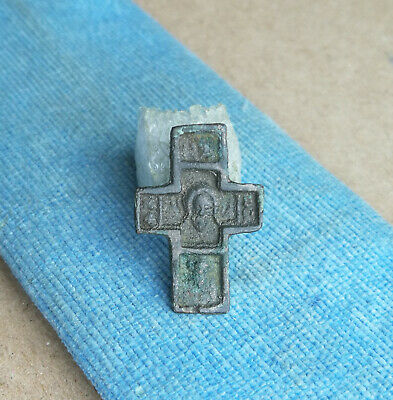 RARE 13-14th CENT. RUSSIAN NECK SMALL BRONZE CROSS FACE JESUS CHRIST AND SAINTS