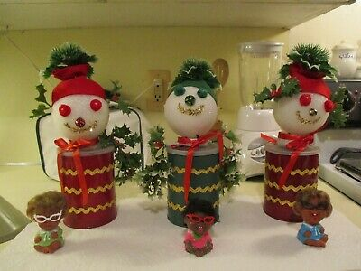 Vintage Christmas Handmade Set of 3 Snowmen Can Decorations~Suprise Gifts Inside