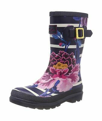 Joules Girl's Girlswelly Wellington Boots 10 UK Child Blue Chinoise Stripe