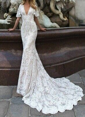 Brand New Wedding Dress - V-Neck with Cape and Train - Size M (10-12)